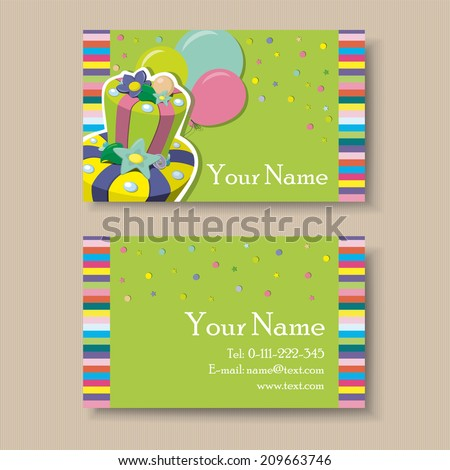 Business visiting card birthday cake stock vector 209663746 business or visiting card with birthday cake reheart Gallery