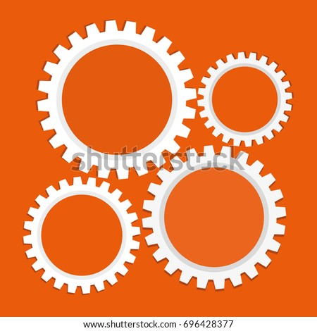 business orange background with cogwheels. Vector illustration