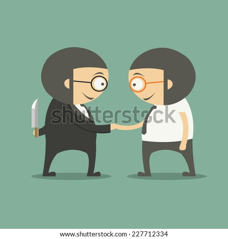 business partners handshaking while another people holding knife behind his back - stock vector