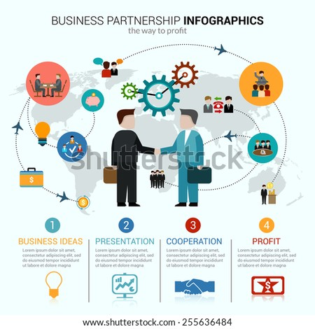 Business partnership infographics with idea presentation cooperation profit symbols and world map vector illustration - stock vector