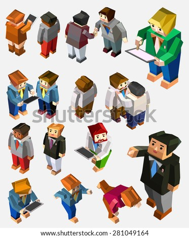 business people activity. isometric illustration set - stock vector