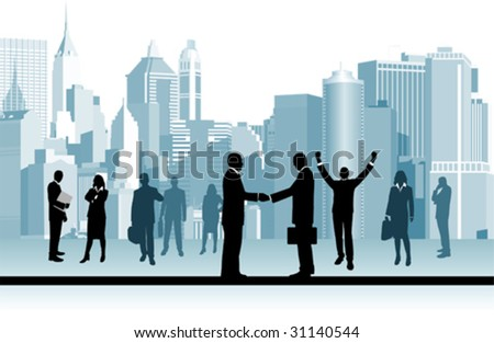 Business People.  All elements and textures are individual objects. Vector illustration scale to any size. - stock vector