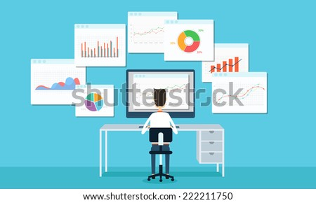 business people analytic business graph and SEO on web - stock vector