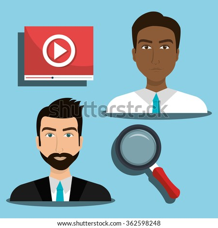 Business people and digital marketing - stock vector