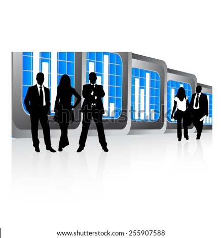 Business people and graph - stock vector