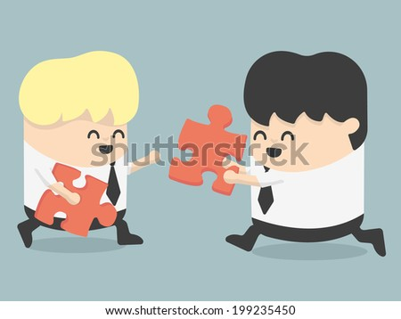 business people and puzzles - stock vector