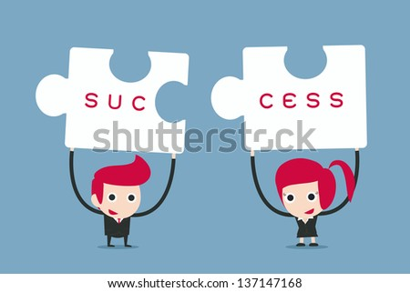 business people and puzzles,  vector cartoon - stock vector
