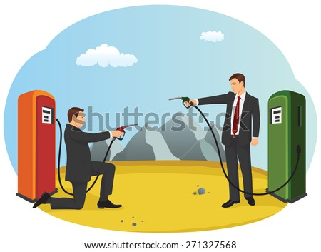 Business people are pointing fuel nozzle at each other like a duel. Competition in the oil industry. - stock vector
