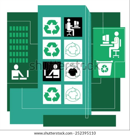 Business people at computers and recycle symbols in highrise - stock vector
