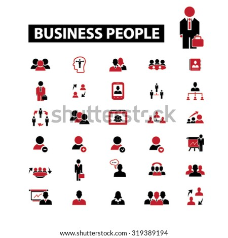 business people, businessman icons - stock vector