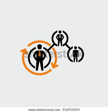 Business People Career Path Growth Vector Icon  - stock vector