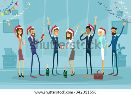 Business people Celebrate Merry Christmas And Happy New Year Office Business People Team Santa Hat Flat Vector Illustration - stock vector