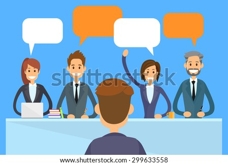 Business People Chat Discussing Communication Sitting Office Desk Conference Meeting Flat Vector Illustration - stock vector