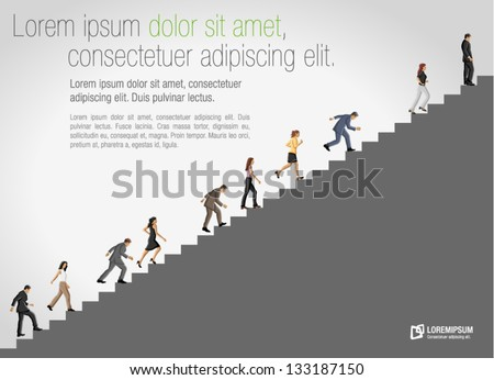 Business people climbing high stair. - stock vector