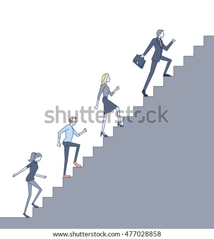 Business people climbing high stair.