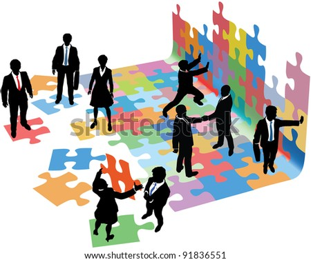 Business people collaborate to put pieces together find solution to puzzle and build startup - stock vector