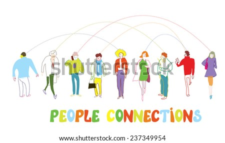 Business people concept - connection illustration or banner in cartoon style - stock vector