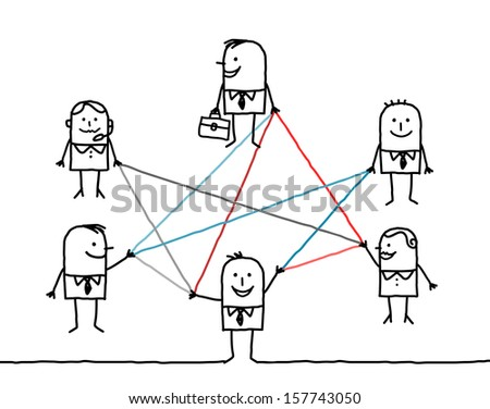 business people connected by color lines - stock vector