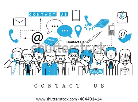 Business People-Contact Us-On White Background-Vector Illustration, Graphic Design.Business Concept And Content For Web,Websites,Magazine Page,Print,Presentation Templates And Promotional Materials - stock vector