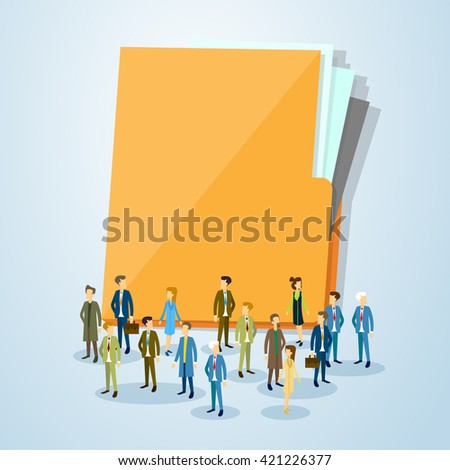 Business People Crowd Over Document Folder Flat Vector Illustration