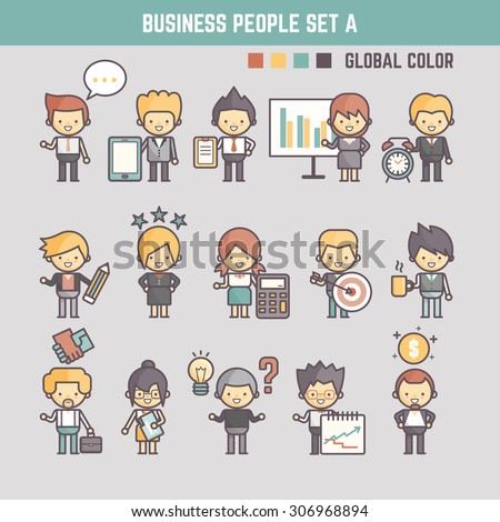 business people cute character set for infographics presentation - stock vector