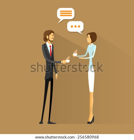 business people drink coffee, chatting talking on break flat design vector illustration - stock vector