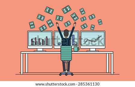 business people earning for sale on line concept .business successes .people business on monitor - stock vector