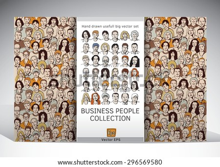 Business people faces collection. Set with crowd seamless pattern and characters icons. Color vector illustration.