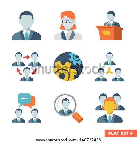 Business people Flat icons for Web and Mobile Application. - stock vector