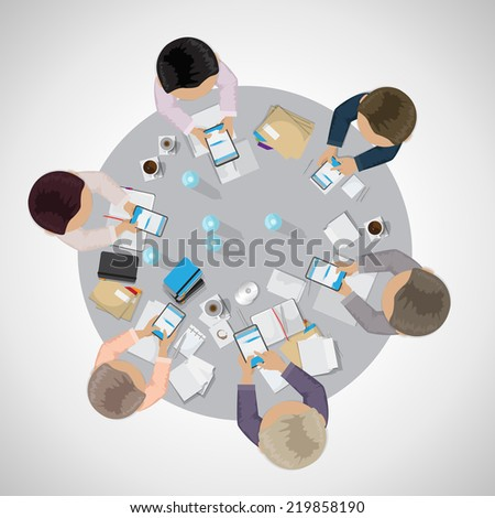 Business People, Flat Illustrations, Office Workers, Brainstorming, Development  - Isolated On Gray Background - Vector Illustration, Graphic Design Editable For Your Design    - stock vector