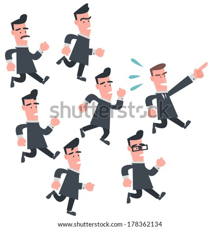 Business People Follow the Leader - stock vector