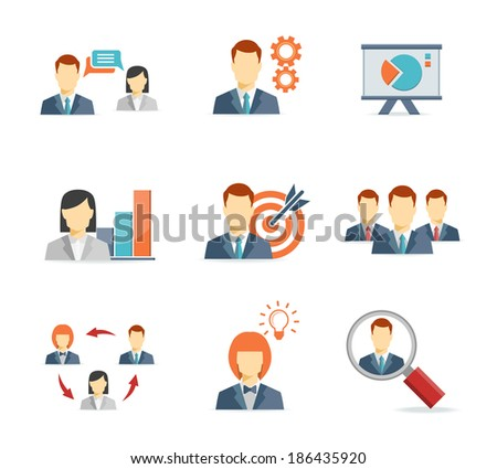 Business people for Web and Mobile App Flat icons  on white background - stock vector