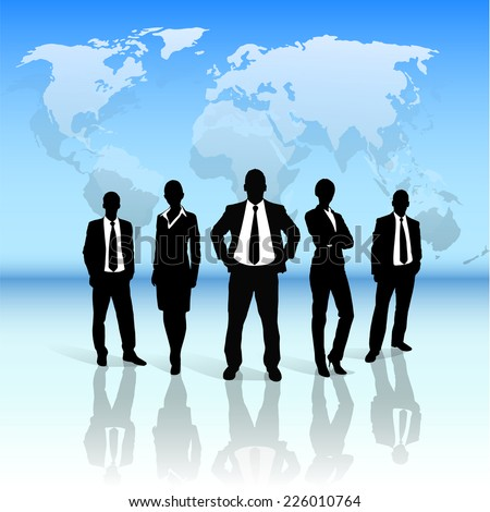Business people group black silhouette concept businesspeople team over world map background - stock vector