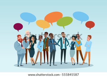 Business People Group Chat Communication Bubble, Businesspeople Discussing  Communication Social Network Flat Vector Illustration