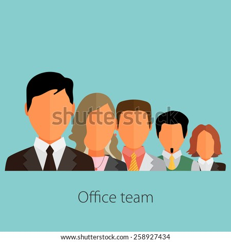 business people group color profile human resources team flat design vector illustration over background - stock vector