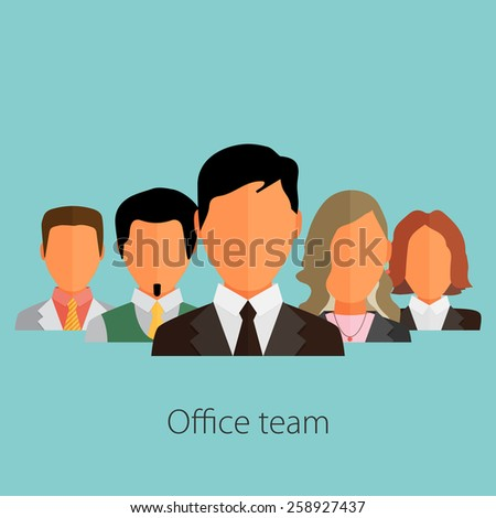business people group color profile human resources team flat design vector illustration over background