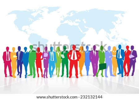 Business people group colorful silhouette concept businesspeople team over world map background - stock vector