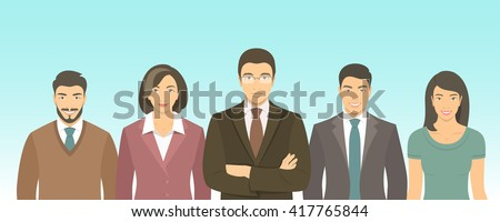 Business people group flat vector illustration. Successful team of young ambitious Asian men and women in suits. Office staff employment concept. Leader with his team.  New start up - stock vector