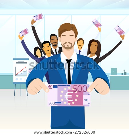 Business People Group Hold Five Hundred Euro Banknote Concept Finance Investment Flat Vector Illustration - stock vector