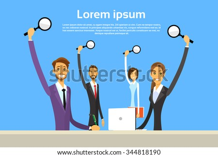 Business People Group Hold Magnifying Search Sitting Office Desk Flat Vector Illustration - stock vector