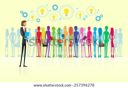 business people group human resource leader businessmen flat design vector illustration - stock vector