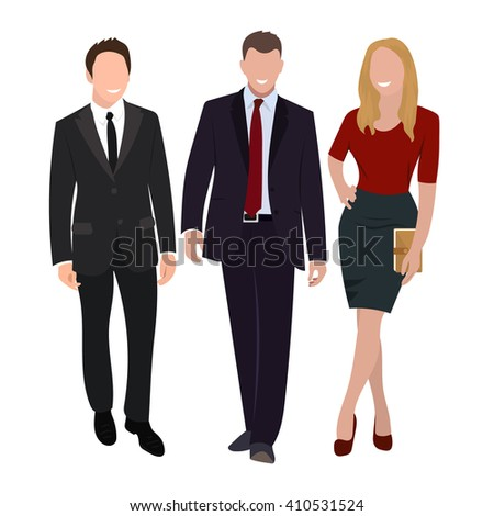 business people group human resources, flat vector illustration. businessman, businesswoman. Business people isolated on white. - stock vector