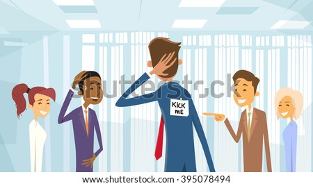 Business People Group Laughing, Kick Me Note On Businessman Back, Joke Fool Day April Holiday Vector Illustration - stock vector