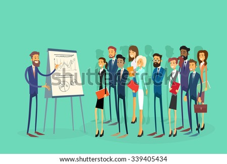 Business People Group Presentation Flip Chart Finance, Businesspeople Team Training Conference Meeting Flat Vector Illustration - stock vector
