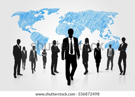 Business People Group Silhouette Over World Global Map Businesspeople International Team Walk Forward Vector Illustration - stock vector