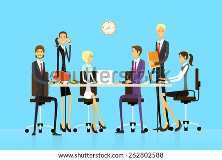 Business people group sitting at office desk creative team vector illustration flat design - stock vector