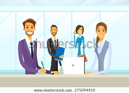Business People Group Sitting at Office Desk Flat Vector Illustration - stock vector