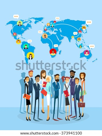 Business People Group Social Network Communication Concept World Map Flat Vector Illustration