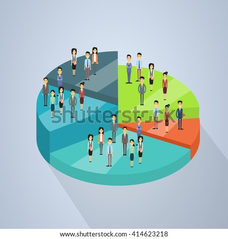 Business People Group Stand On Pie Diagram Success Teamwork Concept 3d Isometric Vector Illustration - stock vector