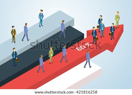 Business People Group Standing Financial Arrow Businesspeople Team Success Concept Growth Chart Isometric Vector Illustration - stock vector